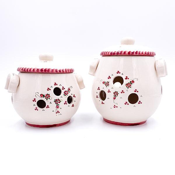 Ročno izdelan set keramičnih posod za čebulo in česenj