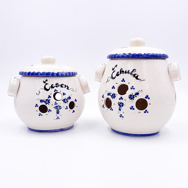 Set ročno izdelanih keramičnih posod za čebulo - keramični čebulnik in posoda za česenj
