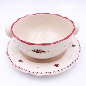 Ročno izdelana skleda za juho z podstavkom - kroznikom rebranim desertnim.