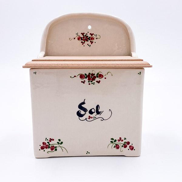 Solnica iz keramike, ki se pritrdi na regal ali steno. Glazirana keramika, Podglazurna poslikava keramike, ročno delo, bež keramika.