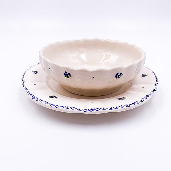 Gospodinjska keramika - rustikalni krožnik in sklečka, posodica - rebrano