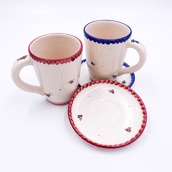 Glazirana keramična skodelica za kavo - 3 decilitre, 3DC s podstavkom, malim krožničkom.