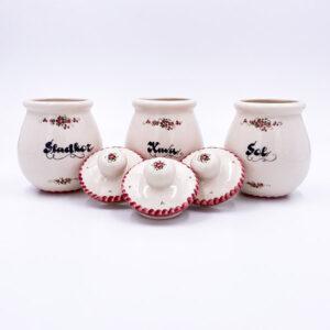 Set, garnitura keramičnih posodic za kavo, sol, sladkor - ročno delo, gospodinjska keramika